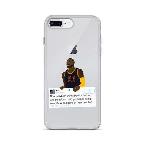 LeBron James holding Kevin Durant Tweet - iPhone Case