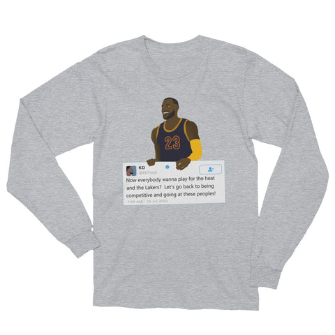 finest selection 2362d 4bfca LeBron James holding Kevin Durant Tweet - Unisex Long Sleeve ...