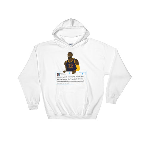 LeBron James holding Kevin Durant Tweet -  Hooded Sweatshirt