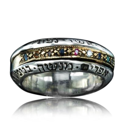 12 Tribes Hoshen Ring -Gold & Silver Spinner Ring by HaAri - HA'ARI JEWELRY