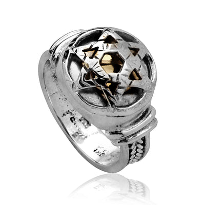 Star of David Silver 5 Elements Kabbalah Ring by HaAri - HA'ARI JEWELRY