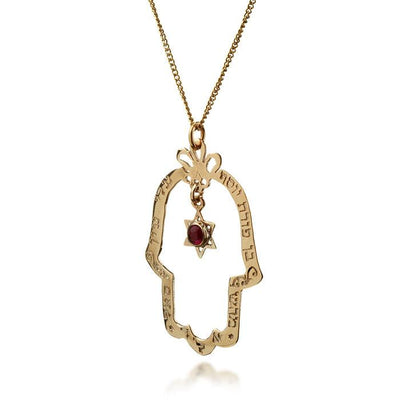 Dafna Gold Hamsa Pendant with Star of David - HA'ARI JEWELRY Hand-crafted Kabbalah & Jewish jewelry