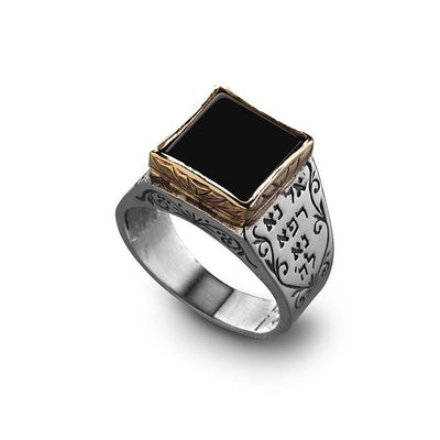 Raphael 5 Metals Kabbalah Ring with Onyx by HaAri - HA'ARI JEWELRY Hand-crafted Kabbalah & Jewish jewelry