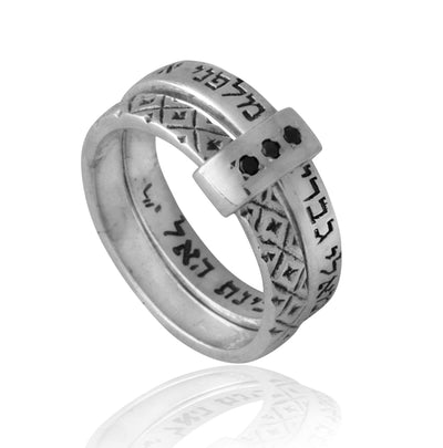 Guardian Angels Silver Ring with Silver Sleeve Black Diamonds Detail - HA'ARI JEWELRY Hand-crafted Kabbalah & Jewish jewelry