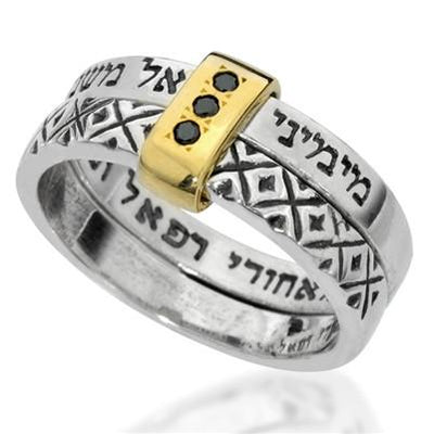 Guardian Angels Silver Ring with Gold Sleeve Black Diamonds Detail - HA'ARI JEWELRY