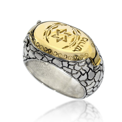 Kabbalah Ring for Men Gold and Silver for Health - HA'ARI JEWELRY Hand-crafted Kabbalah & Jewish jewelry