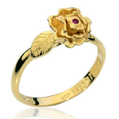 A Rose Among the Thorns Gold Ring with Ruby - HA'ARI JEWELRY Hand-crafted Kabbalah & Jewish jewelry