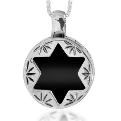 Star of David Necklace set with Onyx with Triple Hamsa hand - HA'ARI JEWELRY Hand-crafted Kabbalah & Jewish jewelry