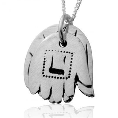 Double Hamsa Hand Pendant - Silver Design - HA'ARI JEWELRY Hand-crafted Kabbalah & Jewish jewelry