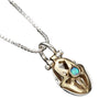 Ruth Pendant Gold & Silver Hamsa Pendant Set with Turquoise