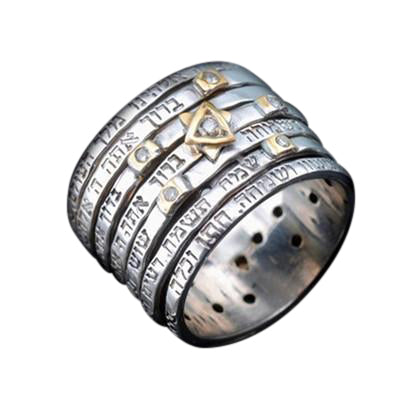 Jewish Ring - Seven Blessings Spinner Silver Ring with Diamonds by HaAri - HA'ARI JEWELRY
