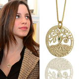 Gold Circle of Life Tree Kabbalah Necklace with Green Emerald Gem - HA'ARI JEWELRY Hand-crafted Kabbalah & Jewish jewelry