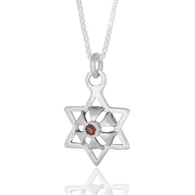"""Star Abundance"" Silver Pendant set with Ruby - HA'ARI JEWELRY"