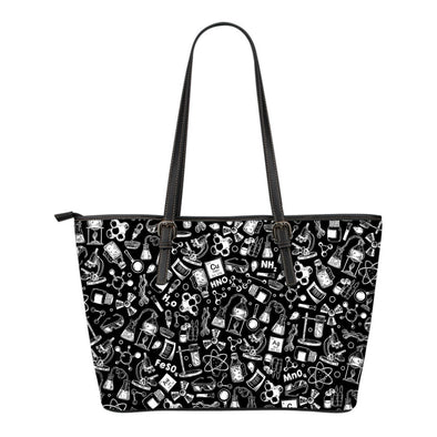 Chemistry Doodle Leather Tote Bag
