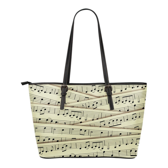 Sheet Music Leather Tote Bag