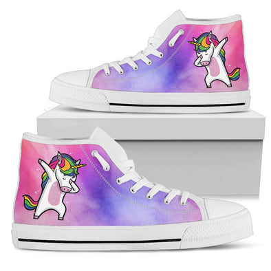 Unicorn Dabbing Shoes (Watercolor Background)