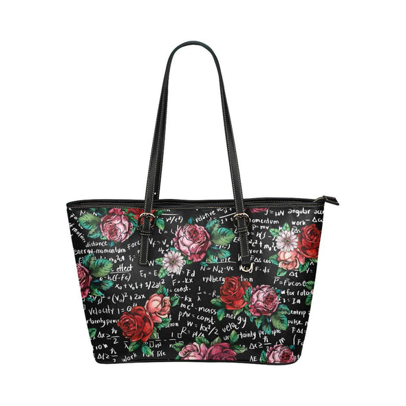 Floral Math Equations Leather Tote Bag