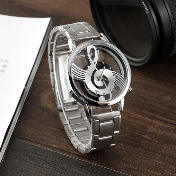 Stainless Steel Music Note Watch