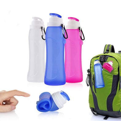 Collapsible Silicone Water Bottle - 17 Oz., Foldable