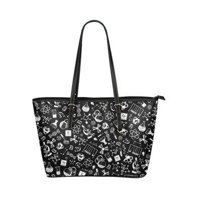 Science Doodle Leather Tote Bag