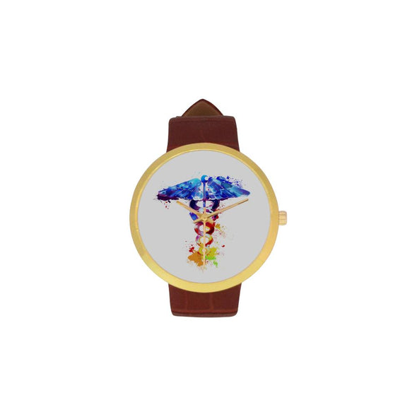 Caduceus Women's Golden Leather Strap Watch