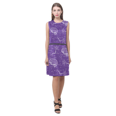 Neuroscience Sleeveless Dress (Purple & Red Color)