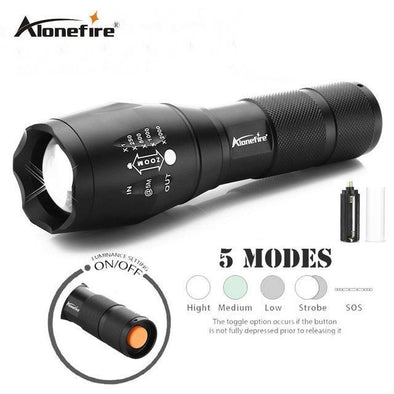 AloneFire Cree XM-L T6 3800 Lumens Tactical Flashlight - Super Bright Military Grade LED Torch, Rechargeable
