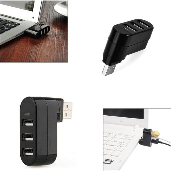 Mini Rotatable 3-Port USB Hub (Get 2-Pack, Save 30%!)