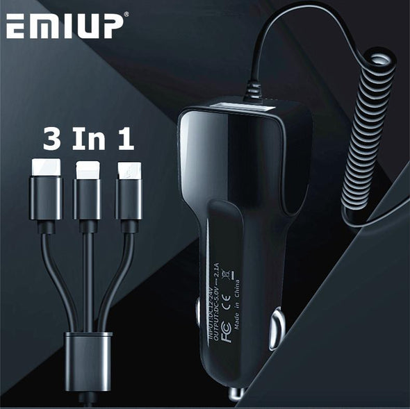 3 in 1 Car Charger with USB Port