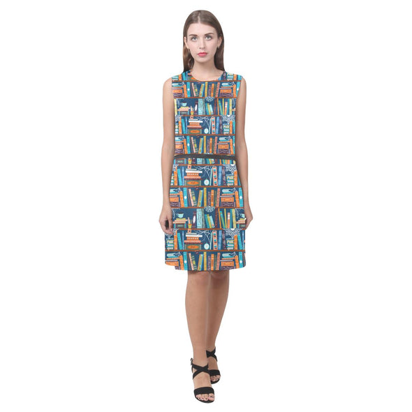 Book Print Sleeveless Dress