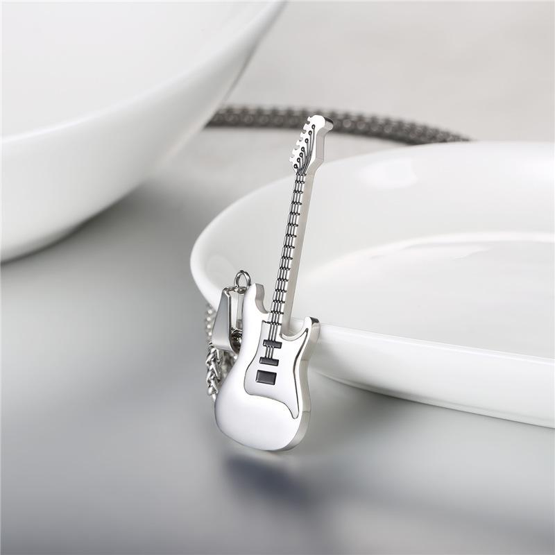 pendants cuban guitar silver stainless necklaces gold jewelry product necklace wholesale chain color pendant men punk steel free rock male link