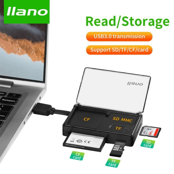 3 in 1 Memory Card Case & Card Reader