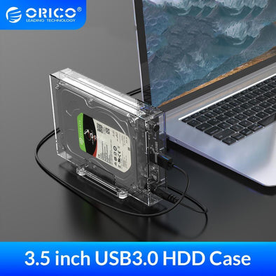 "3.5"" Transparent Hard Disk Enclosure with Vertical Stand"