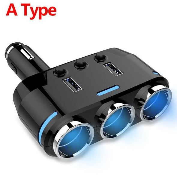 3-Socket Car Lighter Splitter with 2 USB Ports