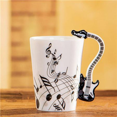 Music Notes Mug with Guitar Handle