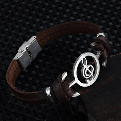Musical Note Leather Bracelet