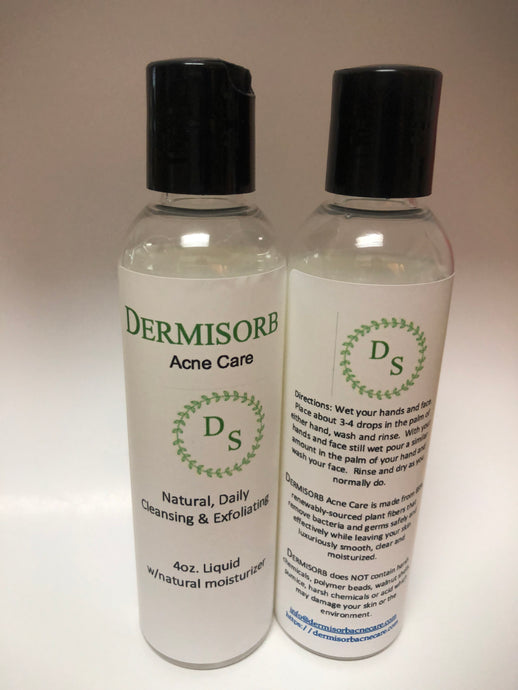 Dermisorb Acne Care: 4oz Liquid. Convenient Travel Size (front/rear view)