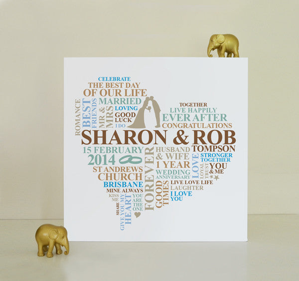 Personalised first anniversary canvas gift.