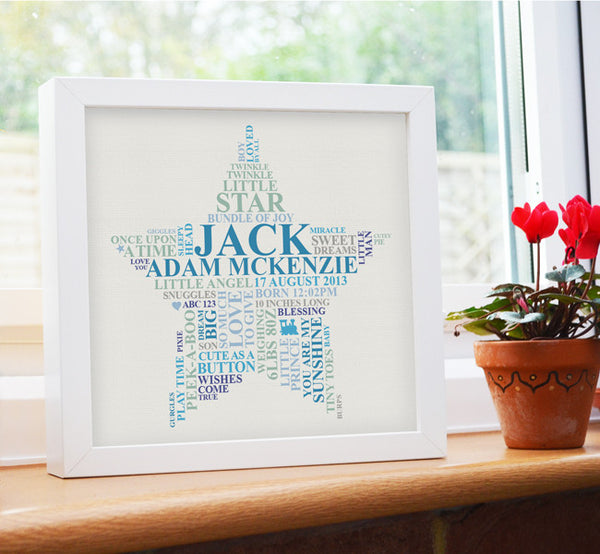 Personalised Baby boy star in frame.