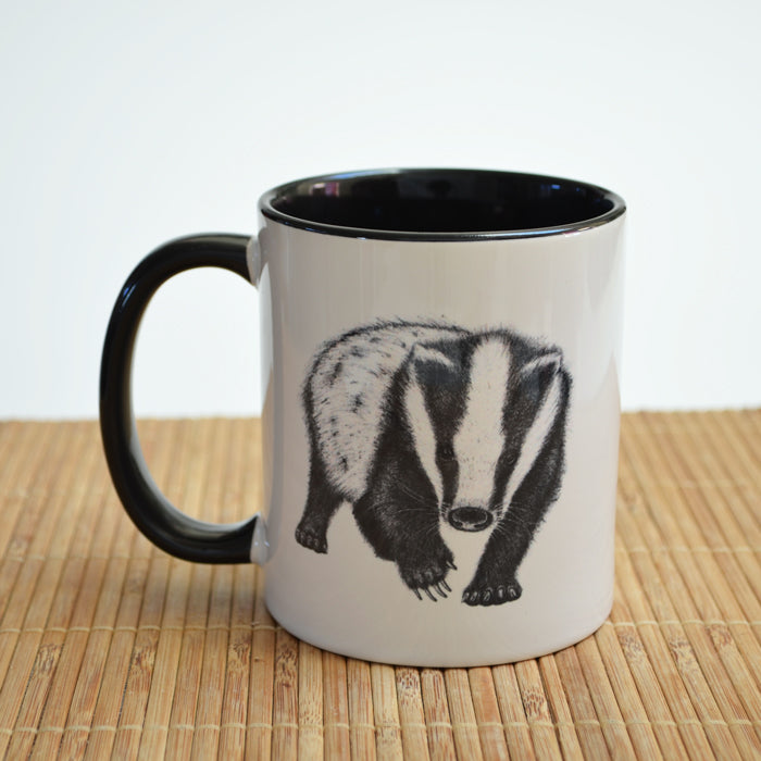 Ceramic Mug with Badger Art
