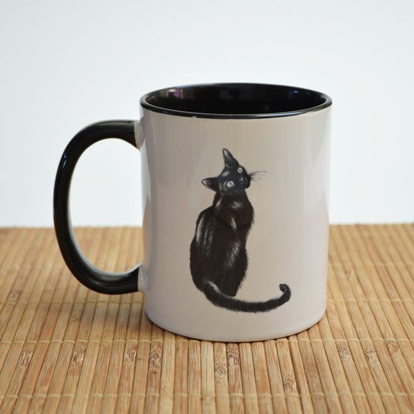 Black Cat Art Ceramic Mug