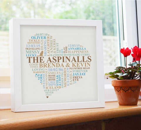 Framed Family Names custom word art heart.