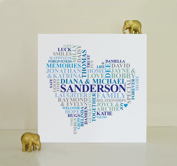 Custom Family names heart canvas.