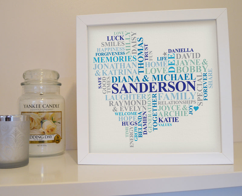 Framed Family Names custom word art heart. – Ali Chappell-Bates Art