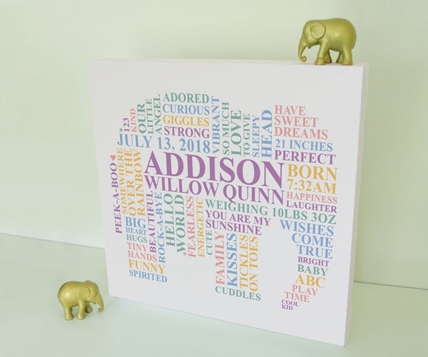 Gender Neutral Baby gift. Elephant nursery canvas