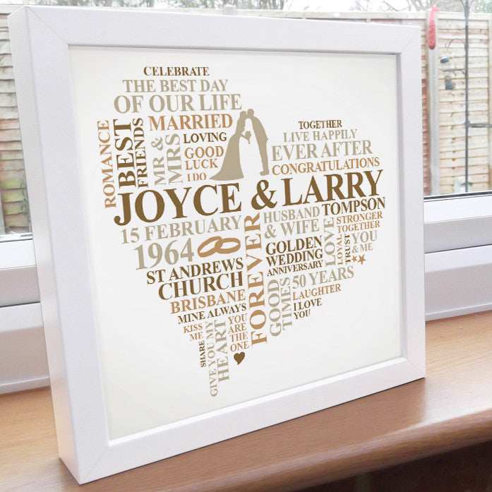 Personalised 50th Anniversary frame. – Ali Chappell-Bates Art