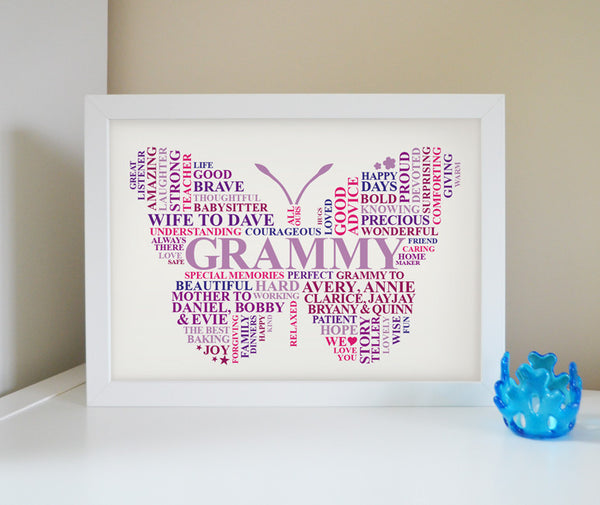 Personalised Grammy butterfly frame.