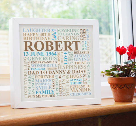 Personalised birthday frame.