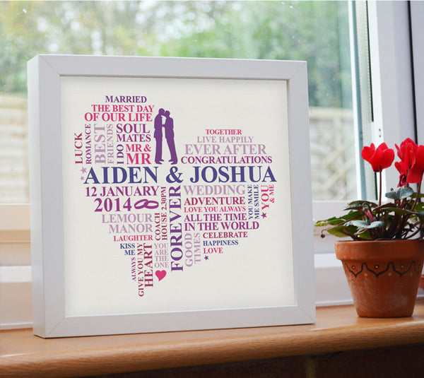 Wedding day frame for male couple.