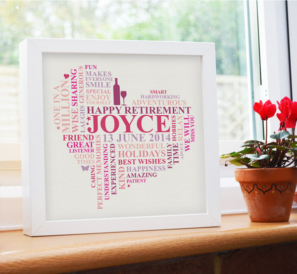 Happy retirement. Personalised framed gift.